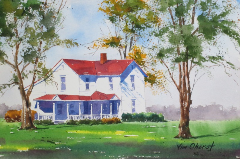 landscape, house, farmhouse, farm, rural, original watercolor painting, oberst