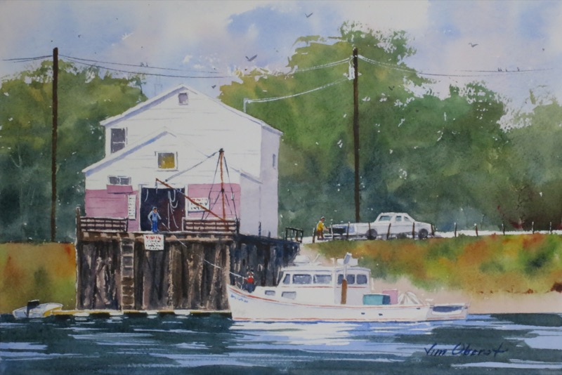seascape, portsmouth, maine, piscataqua, new hampshire, maine, fish, boat, pier, wharf, original watercolor painting, oberst