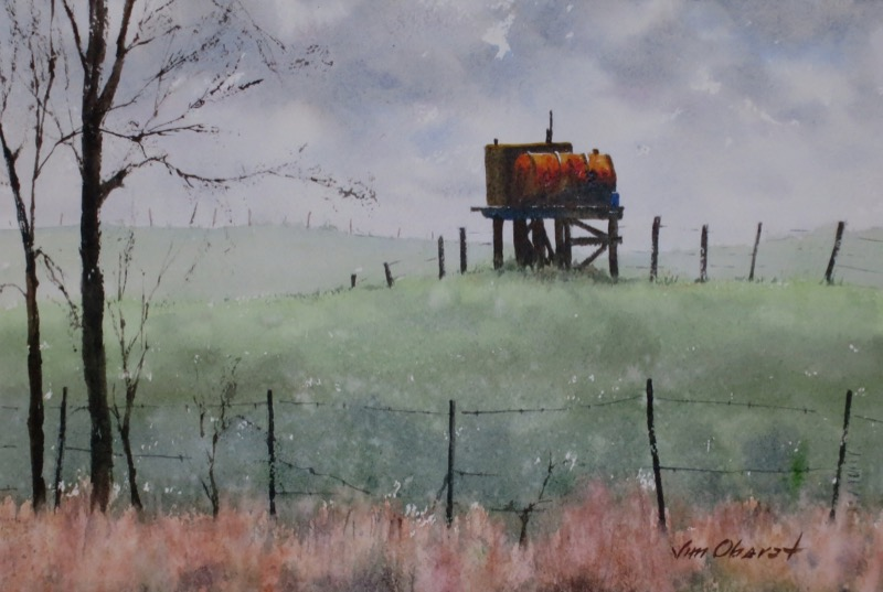 landscape, farm, rural, tank, field, original watercolor painting, oberst