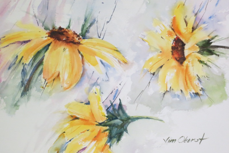 floral, still life, flower, sunflower, original watercolor painting, oberst