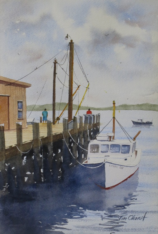 seascape, maine, sprucehead, coast, wharf, dock, tide, fishing, boat, sea, ocean, original watercolor painting, oberst