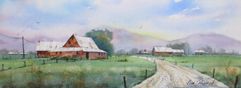 landscape, rural, hills, barn, farm, country, original watercolor painting, oberst