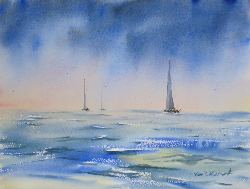 seascape, sea, ocean, waves, wind, storm, boat, sailboat, original watercolor painting, oberst