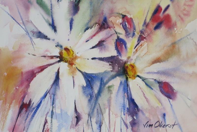still life, floral, daisy, daisies, bouquet, original watercolor painting, oberst
