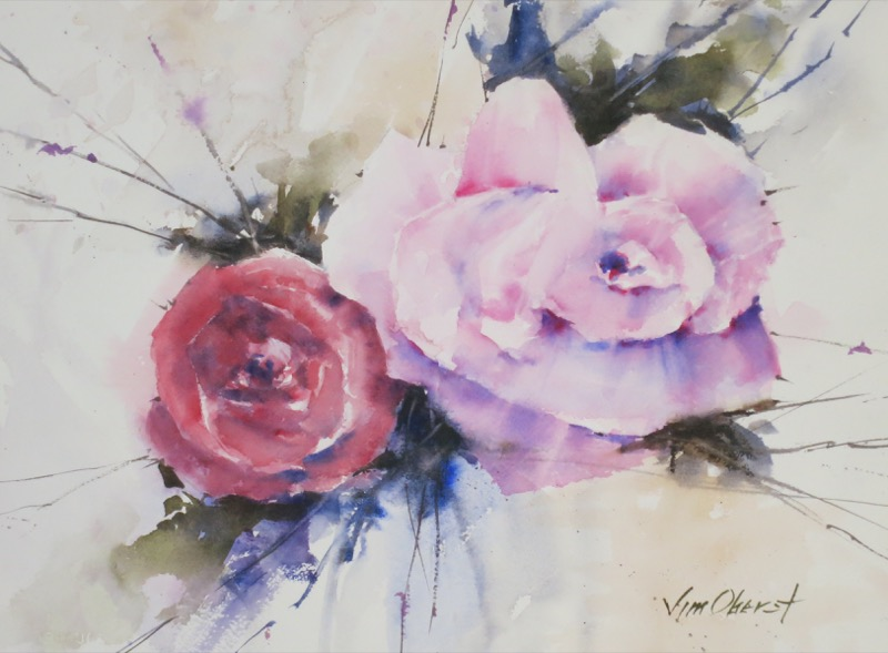 still life, floral, flower, rose, duet, original watercolor painting, oberst