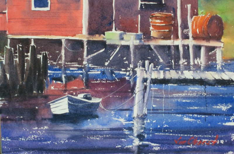 seascape, peggy's cove, halifax, nova scotia, canada, harbor, fishing, pier, rowboat, boat, dinghy, original watercolor painting, oberst