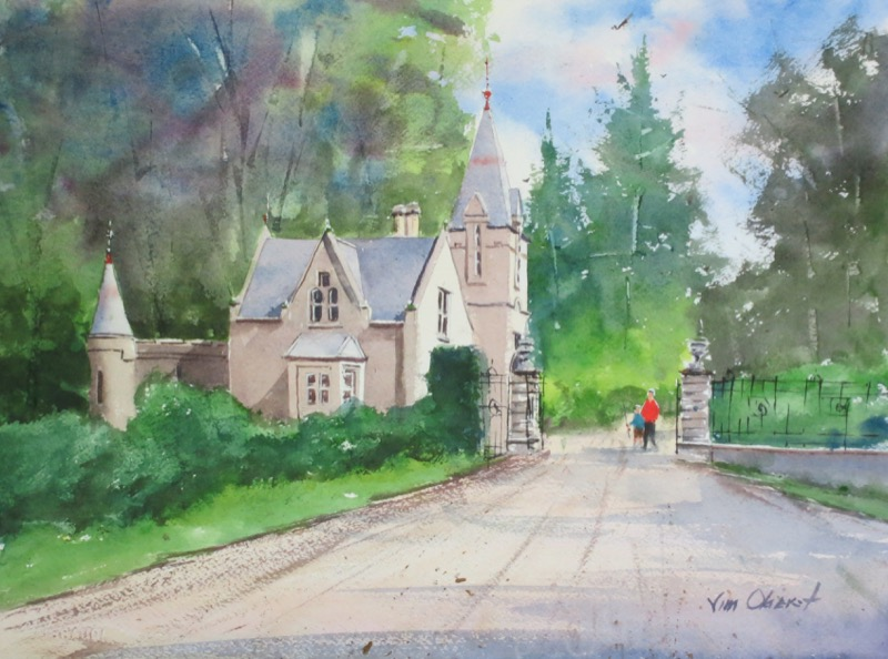landscape, europe, uk, scotland, aberdeenshire, turiff, forglen, estate, lodge, gatehouse, original, watercolor, painting, oberst