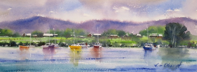 seascape, landscape, boat, sailboat, hill, mountain, sea, water, lake, original watercolor painting, oberst