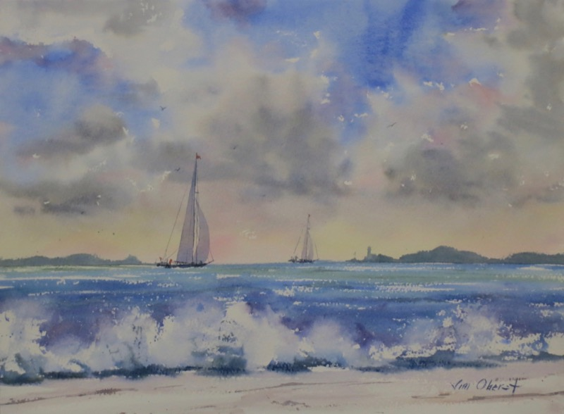 seascape, beach, surf, waves, ocean, sea, boat, sailboat, original watercolor painting, oberst