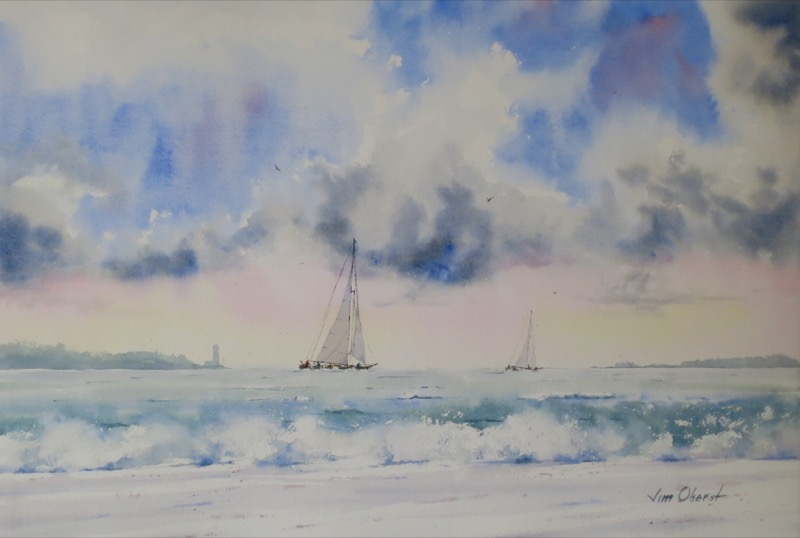 seascape, ocean, sea, boat, sailboat, race, sky, clouds, waves, surf, beach, original watercolor painting, oberst