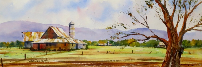 landscape, farm, barn, country, field, silo, tree, valley, original watercolor painting, oberst