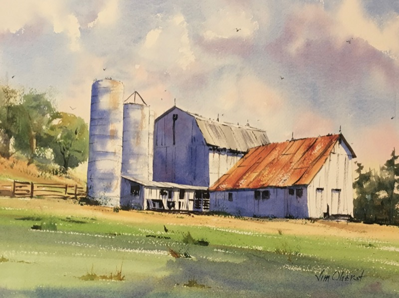 landscape, rural, barn, farm, silo, davis hollow, conesville, coshocton, oberst, watercolor painting