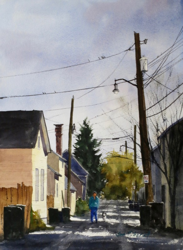 cityscape, landscape, columbus, ohio, german village, alley, schmidts, road, oberst, watercolor, painting
