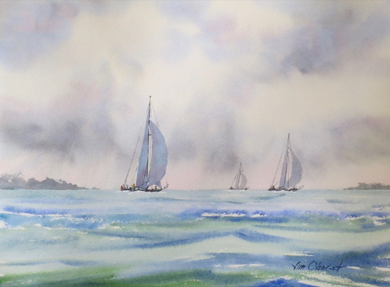 seascape, boat, sailboat, storm, sky, waves, oberst, watercolor, painting