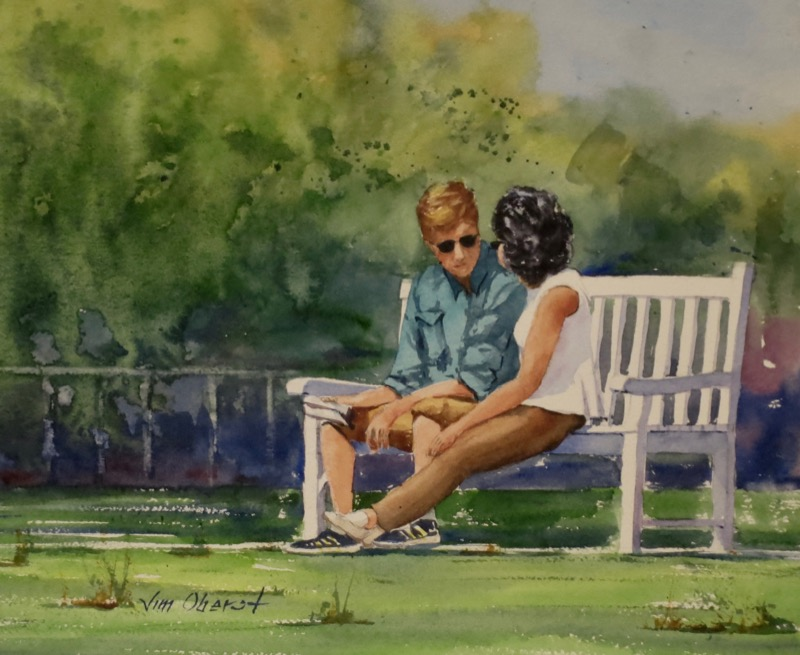 figurative, portrait, people, park, discussion, friends, lovers, oberst, watercolor