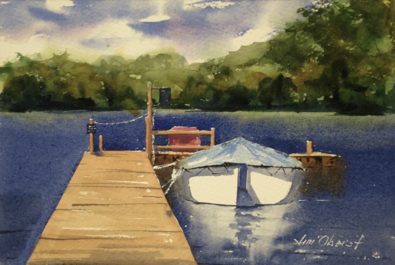 seascape, landscape, europe, uk, scotland, aberfoyle, trossachs, lake, dock, pier, inchmahome, menteith, watercolor, oberst