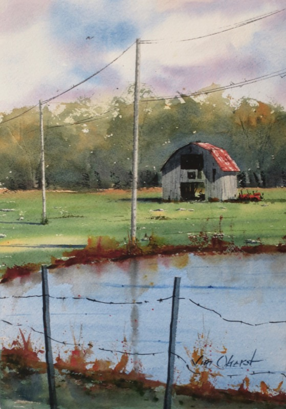 landscape, farm, pond, barn, arkansas, hot springs village, benton, oberst, watercolor