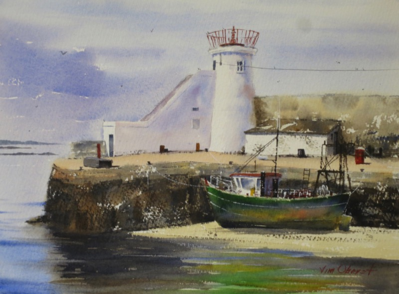 seascape, ireland, fingal, balbriggan, quay, lighthouse, boat, harbor, watercolor, painting, oberst