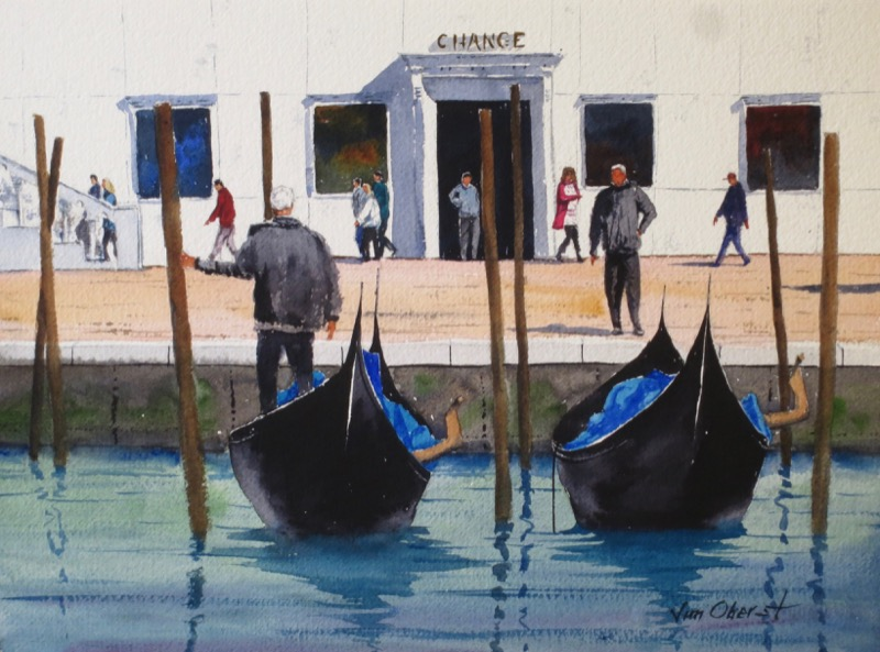 cityscape, urban, venice, canal, gondola, gondolier, boat, italy, europe, watercolor, painting, oberst